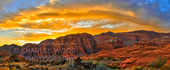 SNOW CANYON STATE PARK, UTAH - FIERY SUNSET