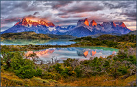 SUNRISE ON THE PAINE MASSIF - TORRES DEL PAINE NATIONAL PARK, CHILEAN PATAGONIA